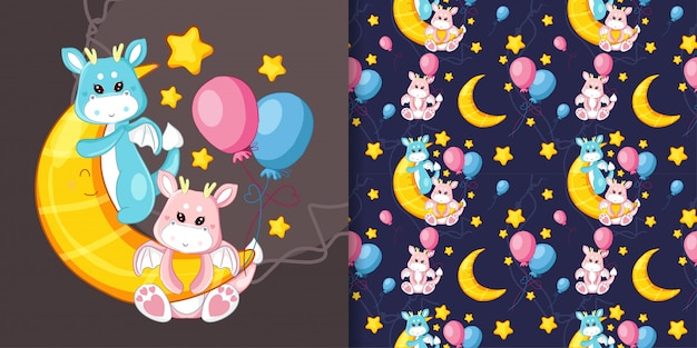 Hand drawn cute dragon on the moon with pattern set
