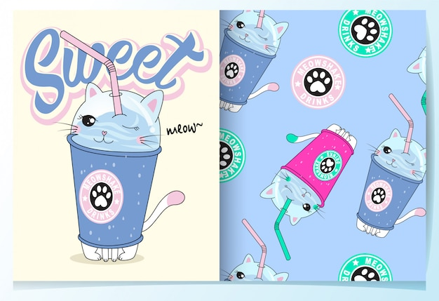 Hand drawn cute drinks pattern set