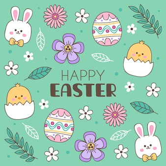 Hand drawn cute easter illustration with bunny
