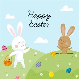 Нарисованная рукой милая пасхальная иллюстрация с кроликом