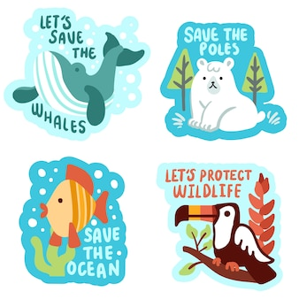 Hand drawn cute ecology badges