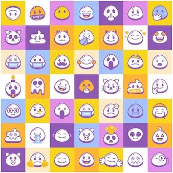 Hand drawn cute emoji pattern