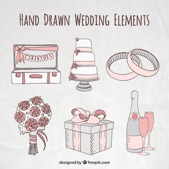 Hand drawn cute essential accessories for wedding