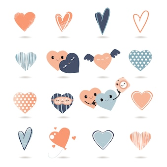 Hand drawn cute faces hearts. valentine's day