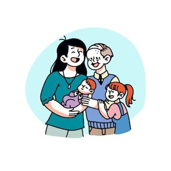 손으로 그린 귀여운 가족 그림