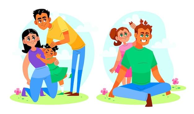 手描きのかわいい家族のシーン