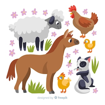 Hand drawn cute farm animal collection