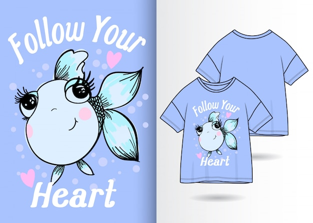 Hand drawn cute fish illustration with t shirt design