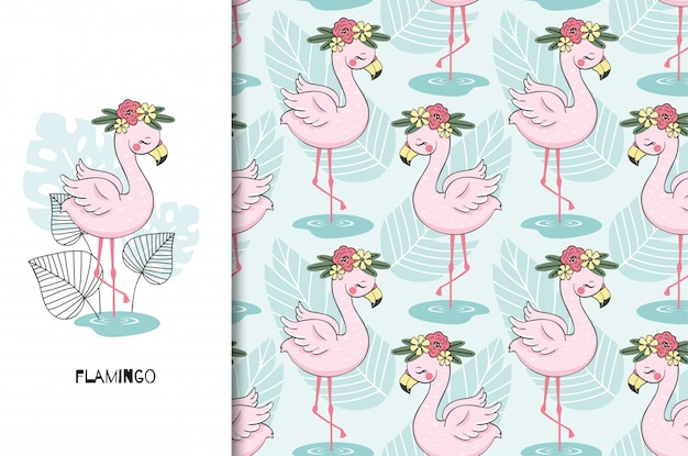Hand drawn cute flamingo bird character. poster and seamless pattern set. cartoon style