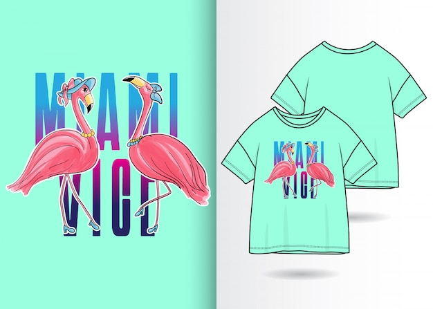 Hand drawn cute flamingo illustration with t shirt design