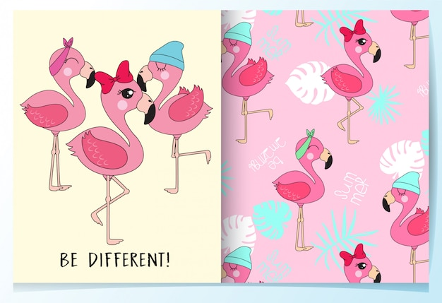 Hand drawn cute flamingo pattern set