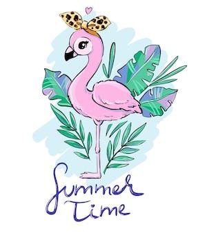 Ручной обращается милый фламинго с леопардовым бантом с тропическими листьями летнее время буквы