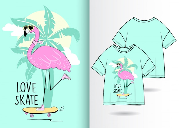 Hand drawn cute flamingo with t shirt