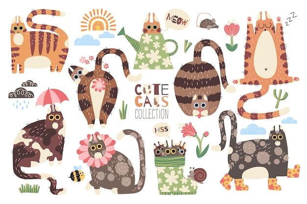 손으로 그린 귀여운 꽃 고양이 컬렉션