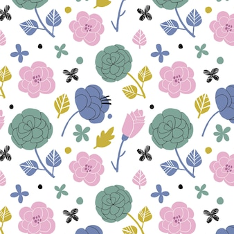 手描きのかわいい花柄