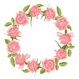 장미와 손으로 그린 귀여운 꽃 화 환.