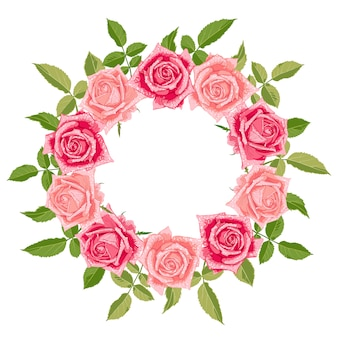 Hand drawn cute floral wreath with roses.