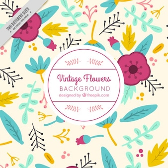 Hand drawn cute flowers background with leaves