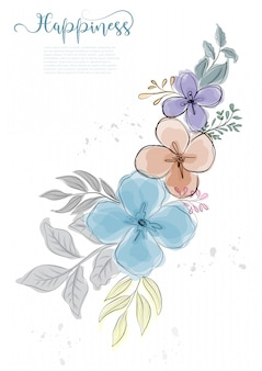 Hand drawn cute flowers blossom with black line
