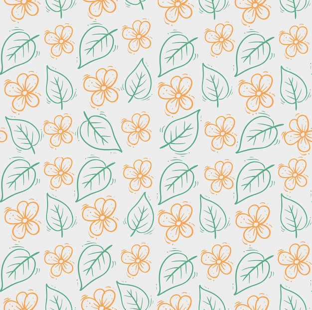 Hand drawn cute flowers with leaves pattern