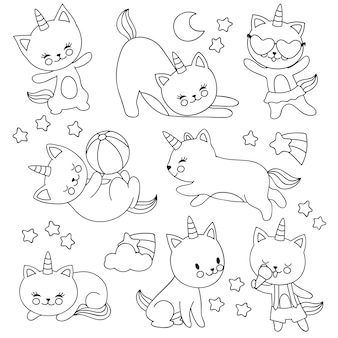 Hand drawn cute flying unicorn cats. vector cartoon characters for kids coloring book
