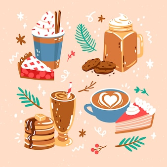 Hand drawn cute food collection
