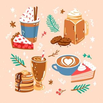 Коллекция рисованной милой еды