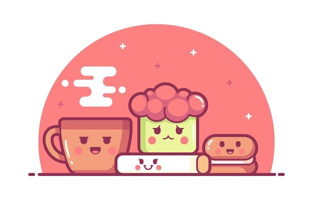 手描きのかわいい食べ物のイラストの背景