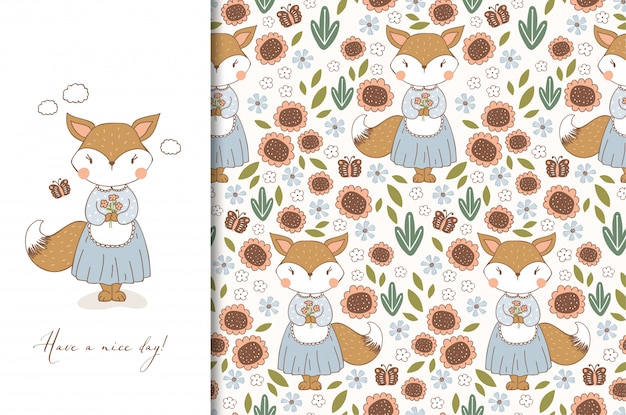 Hand drawn cute fox in apron character. kids animal card and seamless floral pattern. cartoon illustration.