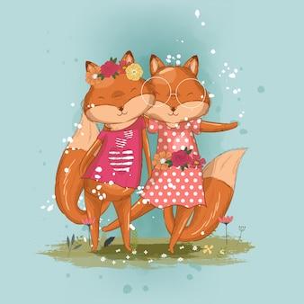 Нарисованная рукой милая иллюстрация лучших друзей лисы для детей