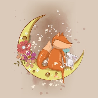 Hand drawn cute fox on the moon illustration for kids