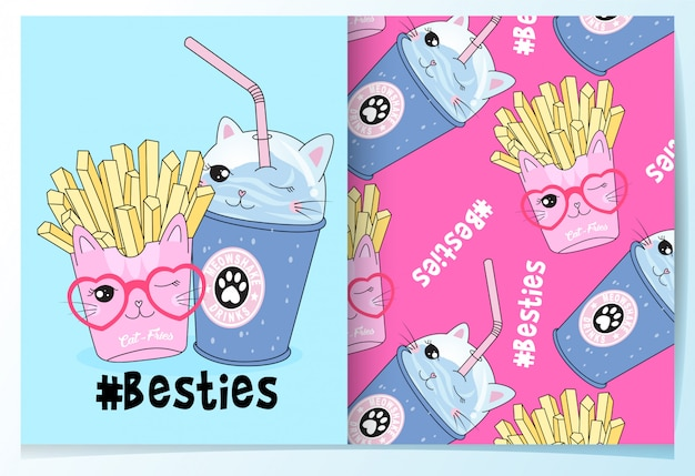 Hand drawn cute french fries & drinks pattern set