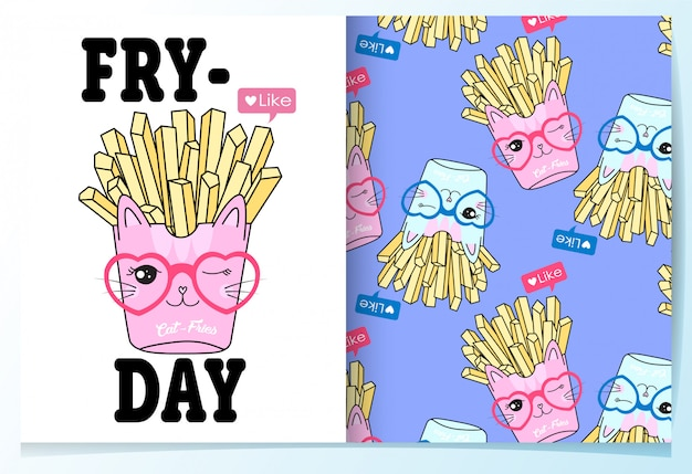 Hand drawn cute french fries pattern set