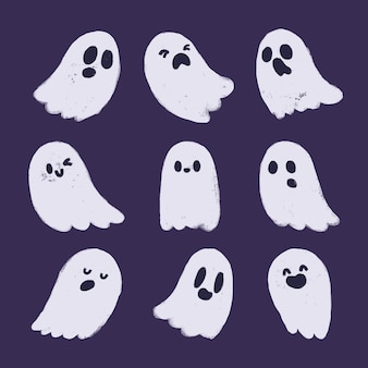 Hand drawn cute ghosts collection.