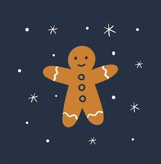 Hand drawn cute gingerbread man on dark background. festive biscuit illustration.