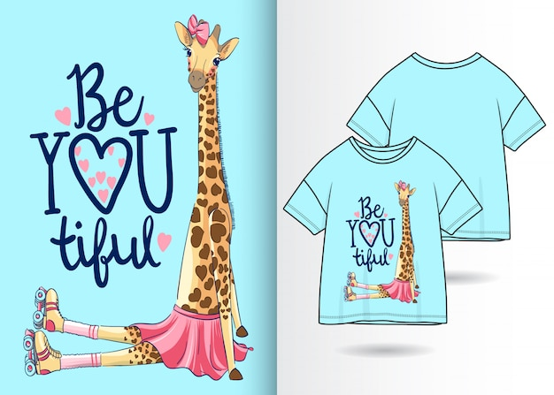 Hand drawn cute giraffe illustration with t shirt design