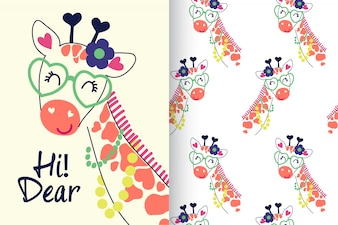 Hand drawn cute giraffe with pattern set