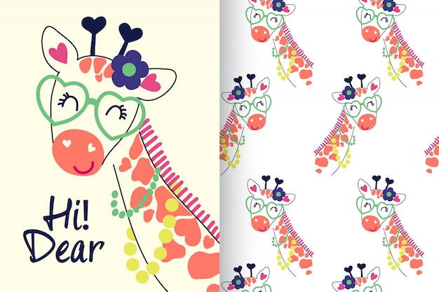 Hand drawn cute giraffe with pattern set
