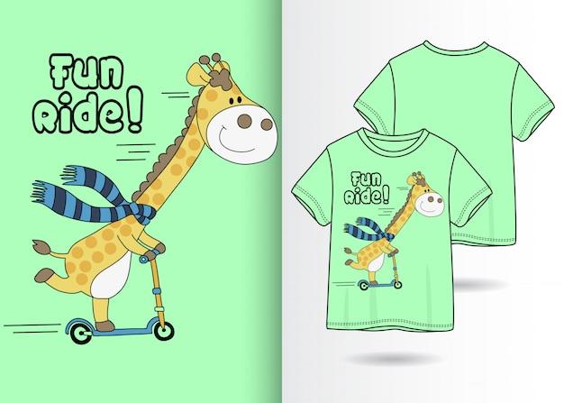Hand drawn cute giraffe with tshirt