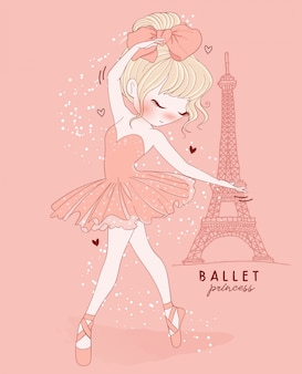 Hand drawn cute girl ballet dance with paris scene