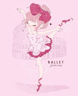 Hand drawn cute girl ballet dance with rome scene