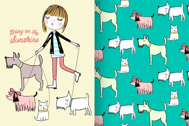 Hand drawn cute girl & dogs with pattern vector set