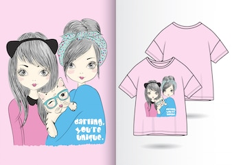 Hand drawn cute girl illustration with t shirt design
