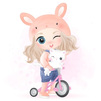 Hand drawn cute girl and kitty character