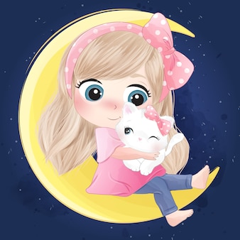 Hand drawn cute girl and kitty sitting in the moon