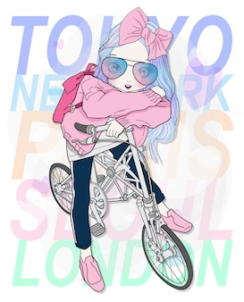 Hand drawn cute girl riding a bicycle