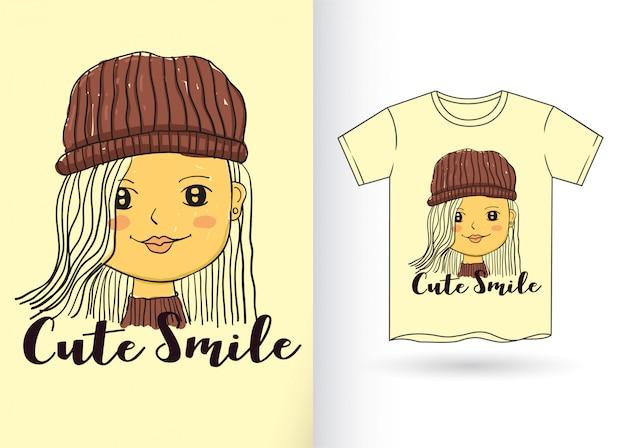 Hand drawn cute girl for t shirt