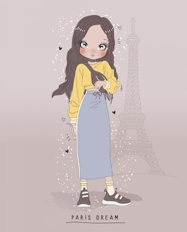 Hand drawn cute girl with background