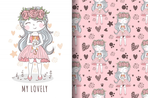 Hand drawn cute girl with cat illustration and pattern