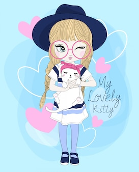 Hand drawn cute girl with cat